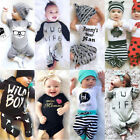 Newborn Baby Boys Girl Top Romper Pants Hat Bodysuit Sunsuit Outfits Set Clothes