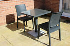 Rattan Effect Reinforced Bistro Set - Square Werzalit Pedestal Table and Chairs