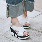 Womens Platform Wedges Real Leather Strappy Sandals Gladiator High Heels New YTK
