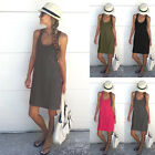 Womens Ladies Summer Sleeveless Dresses Beach Sundress Tops Vest Camisole Solid