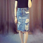 2017 Summer Lady Denim Skirt Jeans High Waist Ripped Slim Fit Pencil Skirts