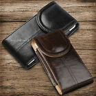 Magnetic Vertical Leather Carry Case Pouch With Belt Clip Loop For Apple/Samsung
