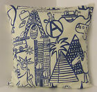 SINGLE CUSHION COVERS NURSERY CHILDRENS NAVY BLUE OFF WHITE SAME FRONT & BACK