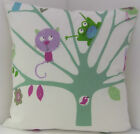 KIDS CHILDRENS LEARNING BIRD FROG PASTEL CUSHION COVERS SAME FABRIC FRONT & BACK