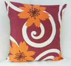 SINGLE SOFA CUSHION COVERS ORANGE FLOWERS CERISE SWIRL PATTERN SAME FRONT & BACK