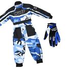 Kids Wulfsport Wulf MX Quad Motocross Overall And Gloves Blue Camo Set #O6