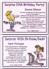 21st 30th 40th 50th 60th 70th Personalised Surprise Birthday Invitations fitness