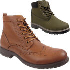 New Mens Lace Up Grip Sole Walking Worker Casual Ankle Boots Shoes Sizes Uk 6-11