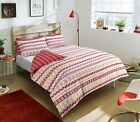 Luxury Mega Geo Red & white Duvet Cover & Pillow Set Quilt Bedding Set All Sizes
