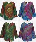 Tie Dye Long Sleeve Cotton TOP Pullover Shirt One Sz Women L Large, Men M Medium
