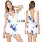 Fashion Ladies Women Sexy V-Neck Sleeveless Print Hollow Out Slim Casual LM01
