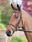 Shires Rossano padded Raised Bridle with Flash Noseband + Rubber reins ALL SIZES
