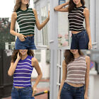 Womens Girls Sleeveless Cami Cropped Tops T-Shirt Summer Tank Vest Blouse Stripe