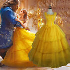 Adult Beauty The Beast Princess Belle Cosplay Costume Ball Gown Fancy Long Dress