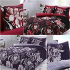 Beautiful linear floral purple or red Duvet Cover with Pillowcases all sizes