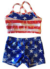 Reflectionz Patriotic Top and Shorts Set Dance Girls Sizes 4, 6, 8, 10