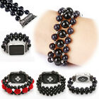 Black Red Agate Bead Bracelet Watch Strap Band For Apple Watch iwatch 38mm 42mm