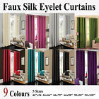 Faux Silk Fully Lined Pair of Eyelet Ring Top Curtain Inc Tie Backs*Sale Price*