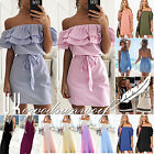 Womens Holiday Mini Playsuit Ladies Boho Jumpsuit Summer Beach Dress Size 6 - 20