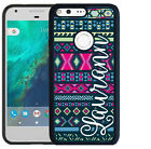 PERSONALIZED RUBBER CASE FOR GOOGLE PIXEL & PIXEL XL HOT PINK NAVY AZTEC TRIBAL