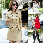New spring women's double breasted trench coat belt hip length long sleeve