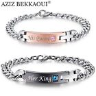 Lover Couple Bracelets Women's Men's Stainless Steel Wristband Bracelet Gift