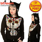 RKN40 Banned Sugar Skull Kitty Cat Hoodie Jacket Top Goth Punk Rock hooded Punk