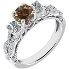 1.75 Ct Champagne Diamond 3 Three Stone Infinity Solitaire Ring 14K White Gold