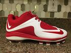 NIKE Air MVP LOW MCS MOLDED BASEBALL CLEATS WHITE/RED SZ 9.5, 10.5, 11.5-12.5