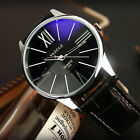 US New Men's Leather Stainless Steel Military Casual Analog Quartz Wrist Watch