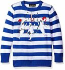 NEW Boys Shark Christmas Party Sweater Blue White Stripe Candy Cane Ugly Contest