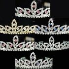 Prom Bridesmaid Pink Red Purple Blue Clear Crystal Silver Tiara / necklace T080