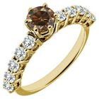 1 Carat Champagne Diamond Half Eternity Solitaire Wedding Ring 14K Yellow Gold