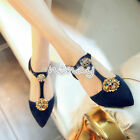 Women Luxury Rhinestones Boat Shoes Mary Janes Pointy Toe T-Strapy Flats Size 8