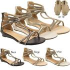 New Womens Ladies Flat Diamante Fashion Holiday Zip Up Gladiator Sandals Shoes