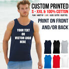 Custom Printed Mens Athletic Cotton Vest Personalised Stag Work Holiday t shirt