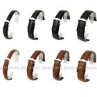 Men Women Black/Brown Genuine Leather Watch Band Stainless Steel Buckle Fashion