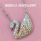 Simulated Diamond/Sparkle Swan Pendant Necklace/Sterling Silver/RGN536