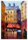 Fine Print of my France Parisian City Street Watercolor Painting Urban Landscape