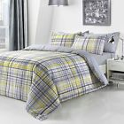 Yellow Check Cameo Reversible Duvet Set Quilt Cover Bedding & Pillow Case Set