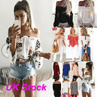 UK Womens Off Shoulder T Shirt Ladies Casual Summer Lace Floral Blouse...