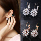 Rose Gold Plated Crystal Flower Dangle Drop Earrings Women Jewelry Xmas Gifts