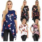 New Womens Cut Out Shoulder Hanky Hem Floral Tunic Tops 8-26