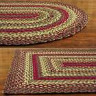 Red and Green Braided Jute Area Rug Country Rustic Oval Rectangle