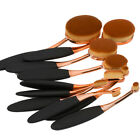 10Pcs PRO Elite Toothbrush Oval Makeup Brushes Set Rose Gold Powder Foundation