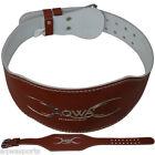 """AQWA Weight Lifting 6"""" Leather Belt Gym Back Support Fitness Training, Brown"""