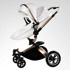 Baby Stroller 3 in 1 Faux Leather Carriage Infant Foldable Pram Pushchair New