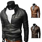 New Men's Fashion Jackets Collar Slim Motorcycle Leather Jacket Coat Outwear Lot