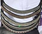 Diamante Crystal Bling Leather Brow Band 5 Row Pony Cob Full XFull