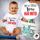 ME AND DADDY LOVE MAN UNITED BABY GROWS SUIT boys bodysuit MANCHESTER UTD VEST